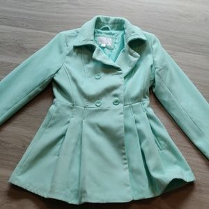 Seafoam Green Pea Coat Petty Coat Size M